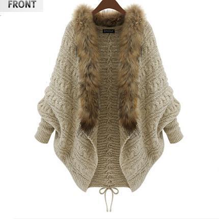 2016 de Otoño e invierno nuevas mujeres de gran tamaño de manga murciélago suéter cardigan de punto abrigo de cuello de piel de Color Beige