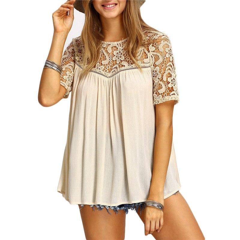 2017 Mujeres Blancas de Encaje Ahueca Hacia Fuera Camisas Recortable Crochet de