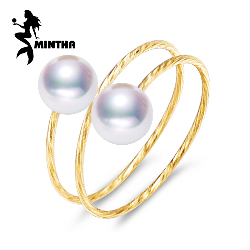 MINTHA brand 18K yellow gold ring ,6-7mm round pearl ring for love ,fine pearl jewelry bridal stone Multiple layers gold ring pearl beaded ring round neck tee