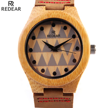 REDEAR Mens Wooen Watch 2016 New Luxury Bamboo Dial Wooden Watch with Full Grain Leather Men Analog Clock Male Wrist Watch Reloj