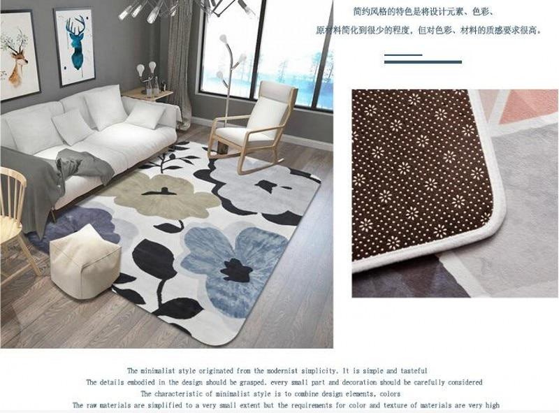 Feuilles imprimé tapis et tapis pour salon et chambre tapis de zone douce mode tapis de Table enfants tapis de jeu bébé tapis de sol tapis - 6