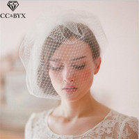 CC Jewelry Short Double Bridal Veil Brides Wedding Hair Accessories For Women Bridesmaids Handmade Party Fine