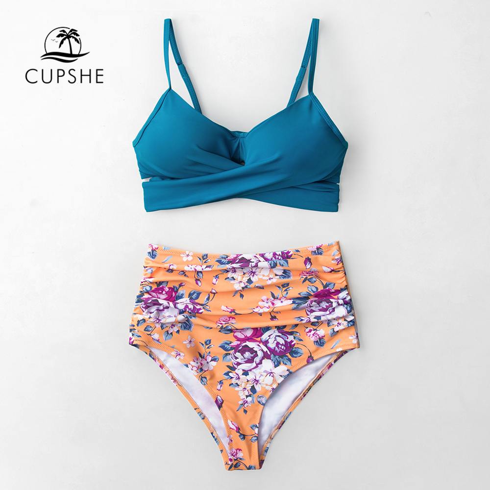 CUPSHE Blue Wrap And Floral High-waisted Bikini Sets Women Sexy Push Up Two Pieces Swimsuits 2020 Girl Beach Bathing Suits