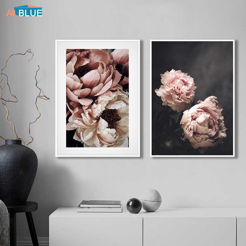 スカンジナビアスタイルの牡丹の花の絵画壁アートキャンバスポスターやプリント北欧装飾画像リビングルームのホームインテリア