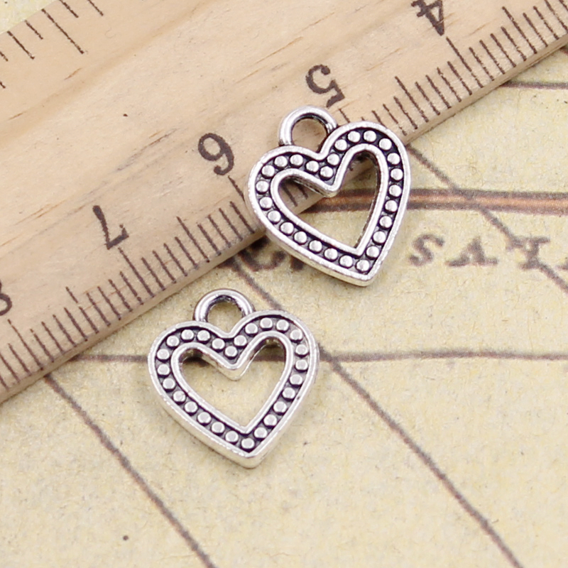 Craftdady 50Pcs Antique Silver Hollow Love Heart Charms 11x9.5mm Tibetan Zinc Alloy Tiny Sweet Heart Beads Pendants for DIY Jewelry Bracelet Necklace Earring Making