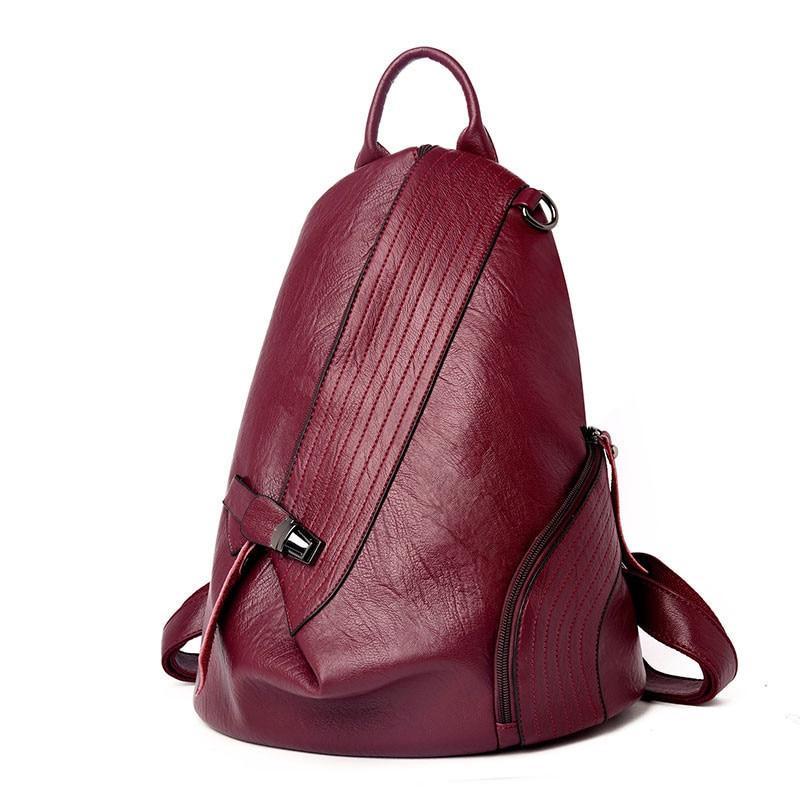 Fashion Vintage Soft Leather Backpack Female Antitheft Soild Women Backpack Large Capacity Ladies Shoulder Travel Bag Mochila