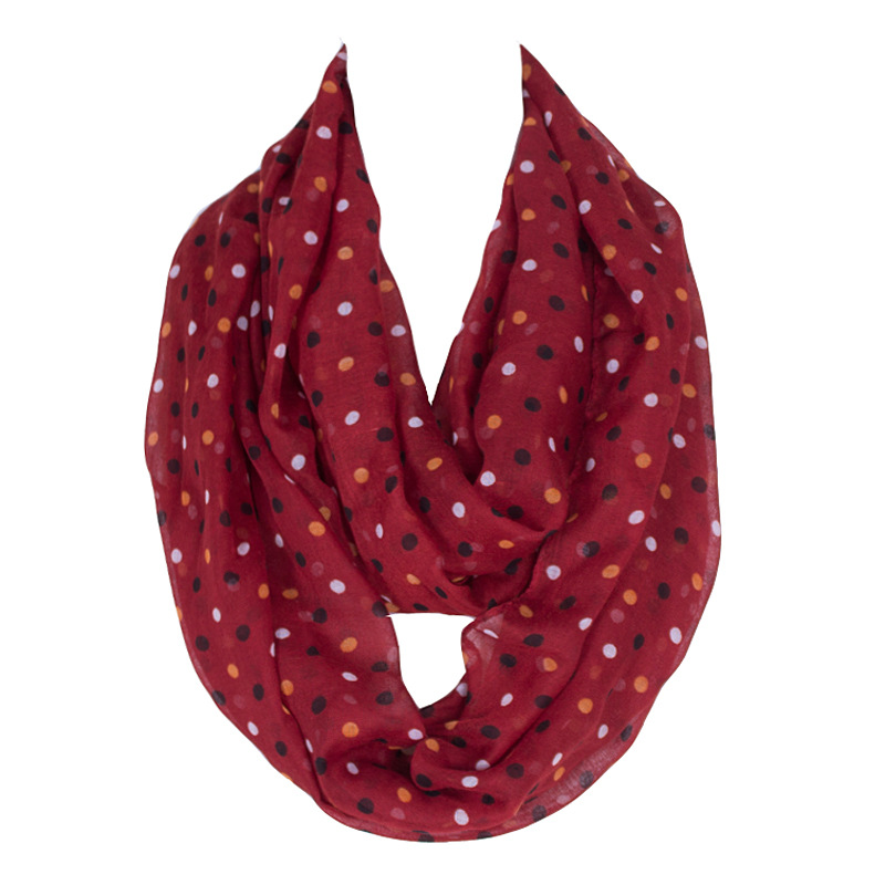 New Fashion Lovely Female Dot&Stripe Printing Ring Scarf Polyester Women Voile Nice Character Loop Scarf Ethnic Style 180*50cm