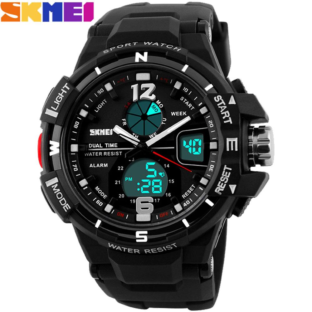Prix pour 2017 SKMEI Hommes Sport montres mode militaire Montres dual time Numérique LED analogique quartz swim Montres en caoutchouc noir horloge