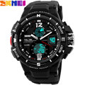 2017 skmei hombres deportes relojes moda relojes militares hora dual led digital analógico de cuarzo swim reloj de pulsera de goma negro