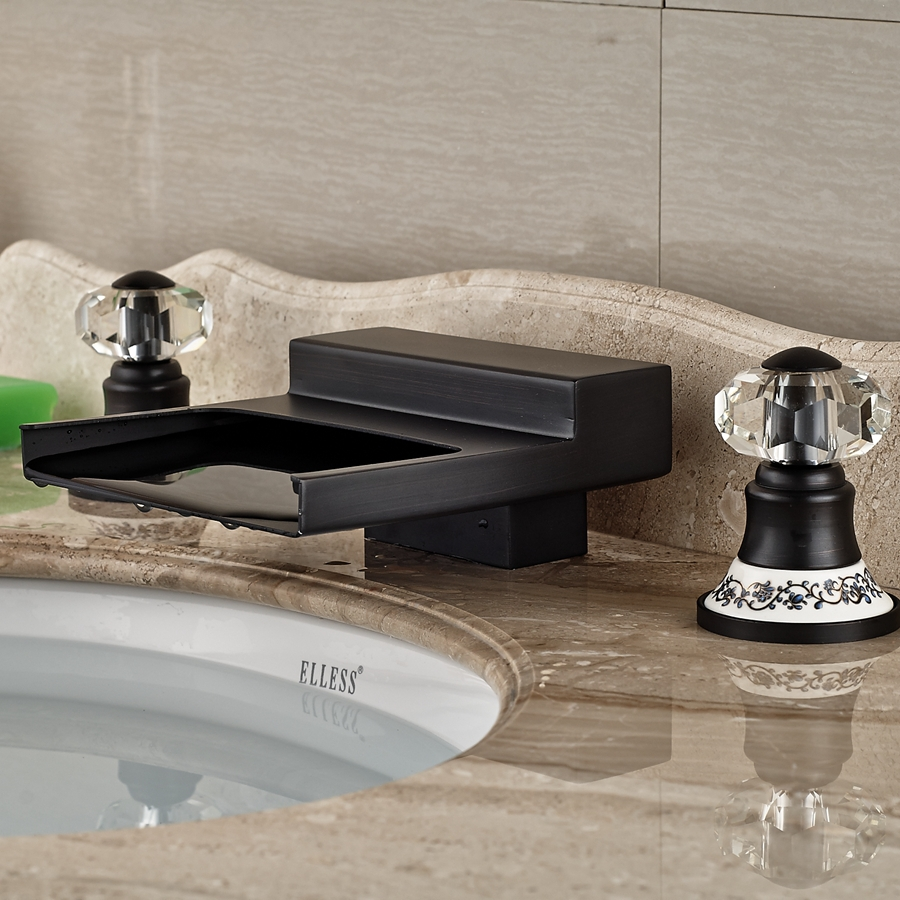 Whole And Retail Promotion Crystal Ceramic Handles Oil Rubbed Bronze Bathroom Faucet Widespread Mixer Tap In Basin Faucets From Home Improvement On