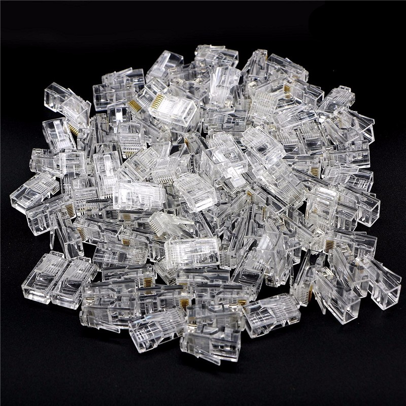 100pcs Crystal 8Pin RJ45 Modular Plug Rj-45 Network Cable Connector Adapter for Cat5 Cat5e Cat6 Rj45 Ethernet Cable Plugs Heads цена