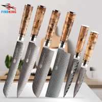 FINDKING 6 PCS knives set AUS 10 Damascus Steel Sapele Wood Handle Arrow Pattern Damascus Knife Set 67 layers Chef kitchen Knife