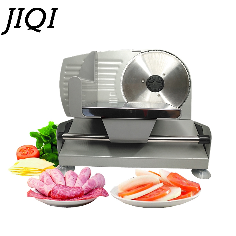 JIQI 110V/220V Electric Meat Slicer Planer Mutton Roll Frozen Beef Cutter Lamb Vegetable Slicing Machine Stainless Steel Grinder