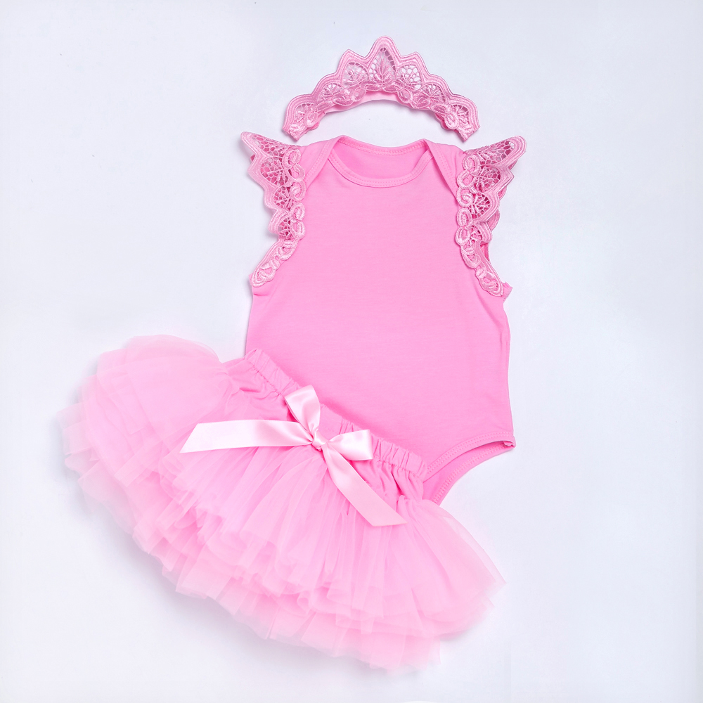 Pink Embroidery Girls Clothing Sets Swing Decorated Baby Romper Tutu Shorts Skirts for Toddler Baby Party Costume Clothes Sets in Clothing Sets from Mother Kids