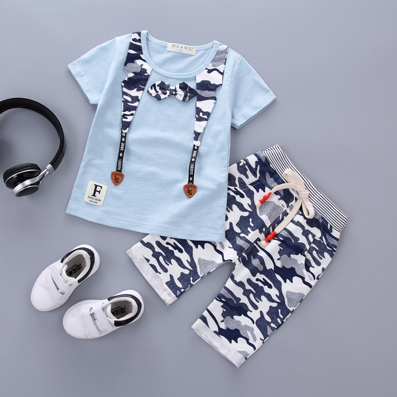 цены  Free Shipping Boys Clothing Set For Children Short Sleeve Summer Clothing 1 2 3 Years Baby Boys T-Shirt Shorts Retail Wholesale