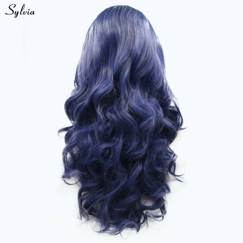 Sylvia Black Roots Dark Blue Wigs Synthetic Lace Front Wigs Handmade Natural Hairline Body Wave Cosplay For White Women Festival