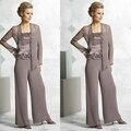 Elegent Mãe Da Noiva Pant Ternos Rendas 3 Peças Chiffon Cetim Calças Terno Mãe Vestido Formal Wear Vestido De Madrinha