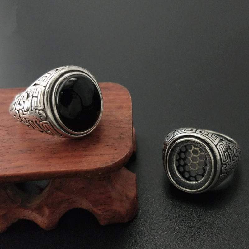 Solid Silver 925 Natural Black Onyx Stone Rings Men Vintage Oval Stone Wide Cuff Band Real 925 Sterling Silver Jewelry Men Gift цены