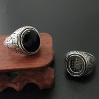 Solid Silver 925 Natural Black Onyx Stone Rings Men Vintage Oval Stone Wide Cuff Band Real 925 Sterling Silver Jewelry Men Gift