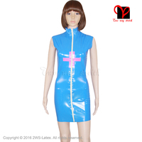 Sexy Blue and Pink Cross Latex Nurse Dress zip Rubber doctor uniform Sleeveless Playsuit plus size Medical Bodycon XXXL QZ 018