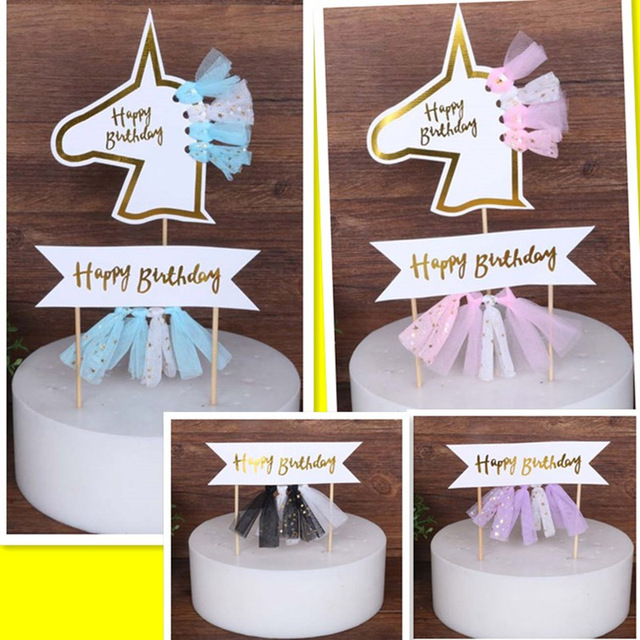 Blue Purple Black Pink Horse Horn Childrens Birthday Unicorn Party Decorations Kids Girl Cupcake Cake Topper Decorating Tool