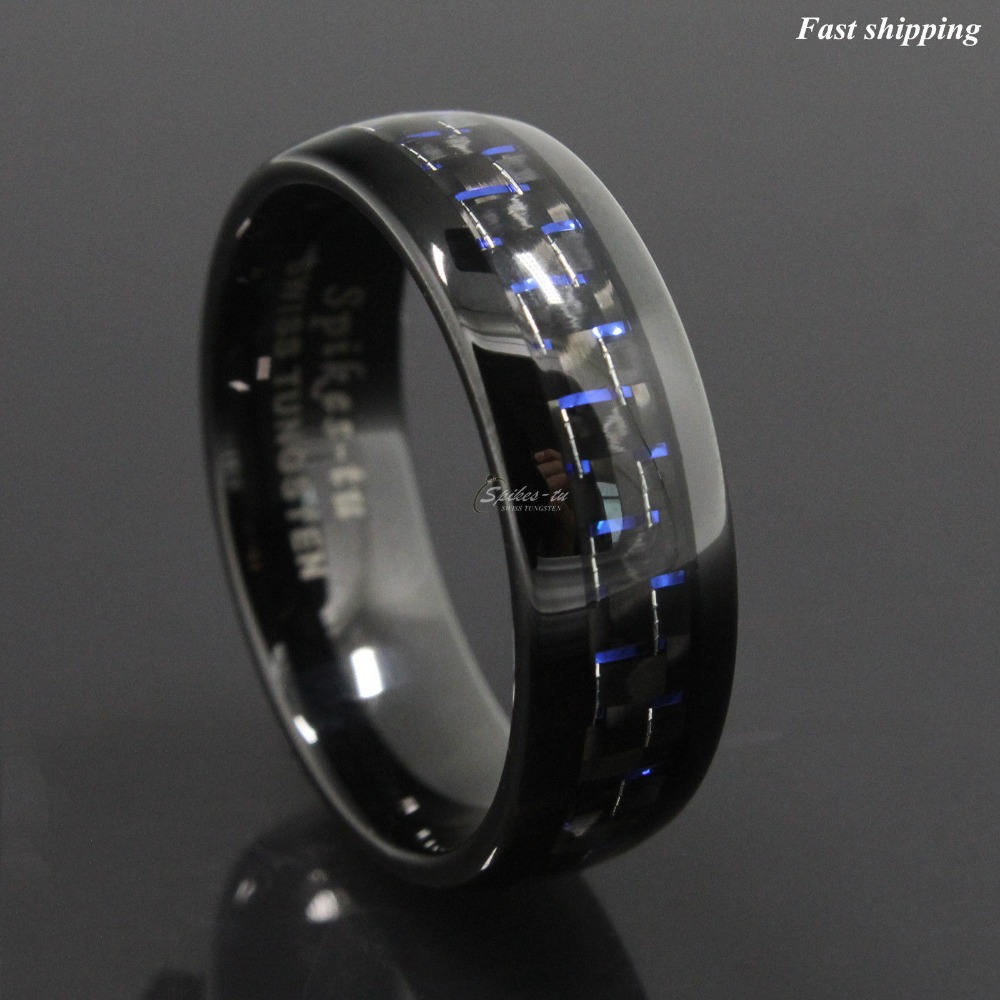 B carbon fiber wedding ring Queenwish 8mm Black Tungsten Carbide Ring Celtic Dragon Blue Carbon Fibre Wedding Band Mens Size 6 14 Amazon com