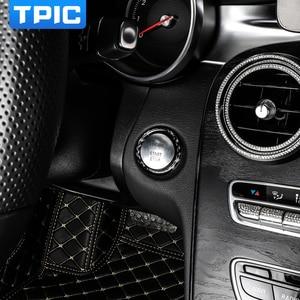 Image 3 - Pegatina para Mercedes Benz Clase C E W205 W213 GLC, parada de arranque de motor de coche, anillo de botón de arranque, moldura de fibra de carbono, accesorios interiores