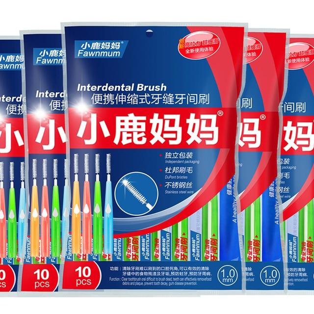 10 piezas Dental higiene Oral Push-pull cepillo Interdental adultos limpieza Dental hilo Dental cepillo de dientes a 5 tamaño cepillo cabeza 0,6mm 1,2mm