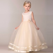 Girls dress two layers champagne long lace dress flower girl wedding dress party ball gown sleeveless vestido de festa longo