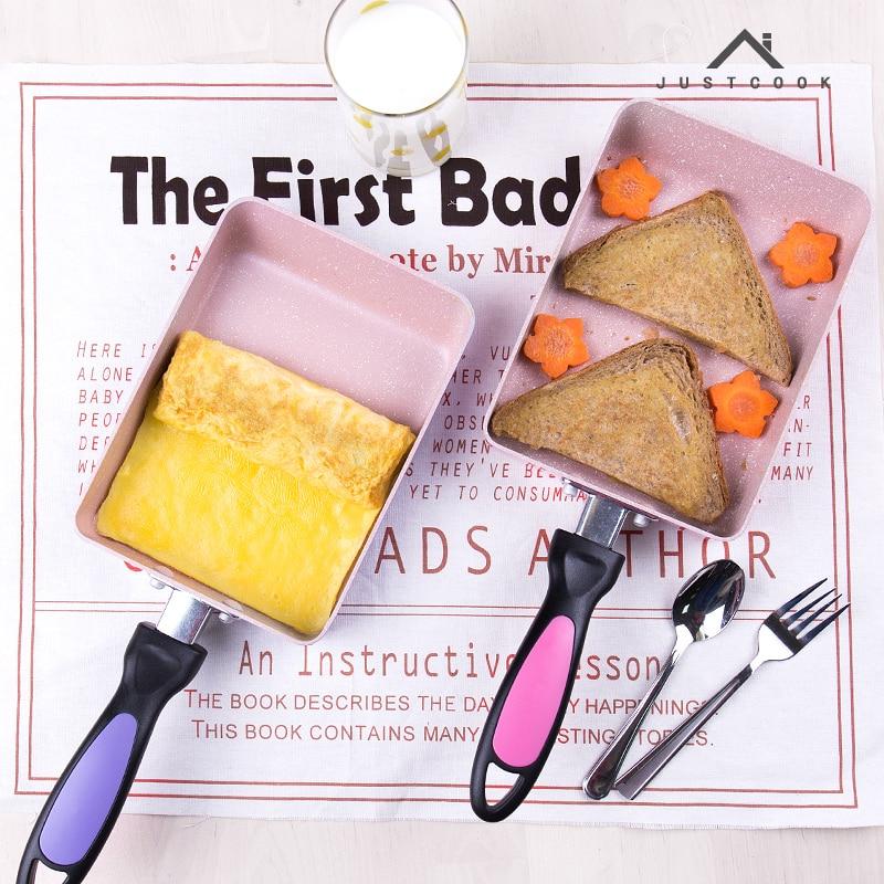 Justcook 13x18/15x18 см tamagoyaki овальным завитком пан антипригарным стейк сковороды общие используйте для газовых и индукционная плита