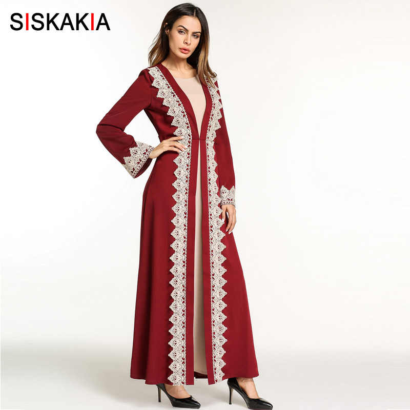 9d46b169f696b Siskakia muslim abaya women Evening party wear Arab Dubai Tunics chic lace  edge patchwork embroidered abaya with slim sashes