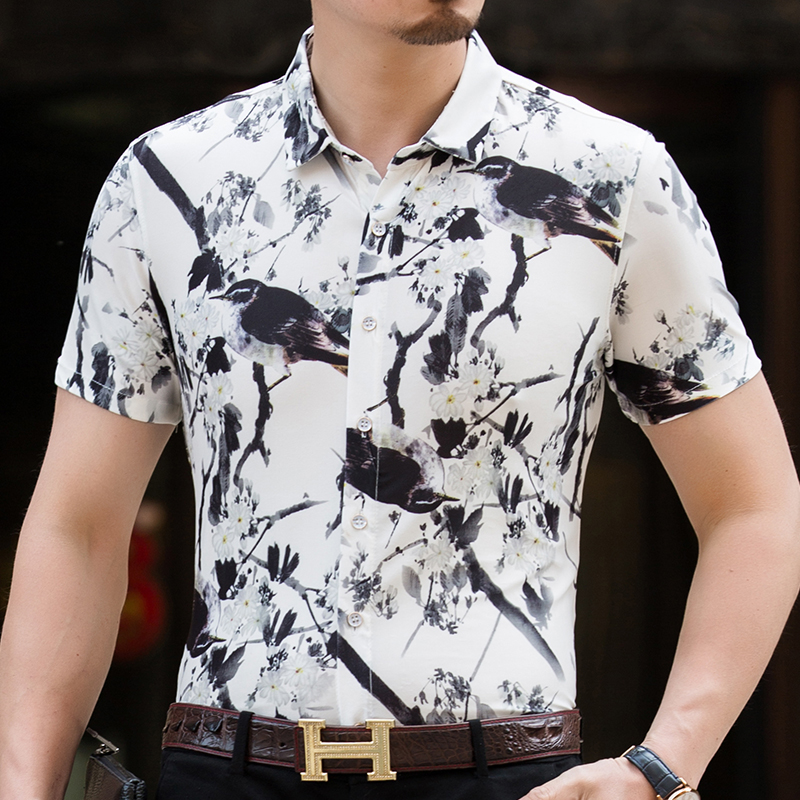2018 New Spring Summer Fashion Mens Casual Social Short Sleeve Shirts Mens High Quality Hawaiian Beach Shirt Fitness Homme
