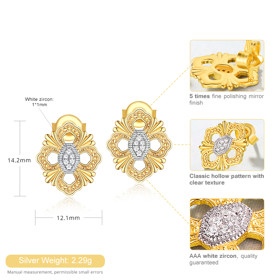ALLNOEL Silver 925 Jewelry Sets For Women White Zircon Gemstone Necklace Earrings Gold Color Separation Plated  Fine Jewelry