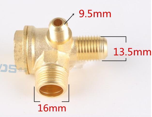 Air compressor small air pump oil pump piston type straight line fittings pure copper one-way valve check valve three