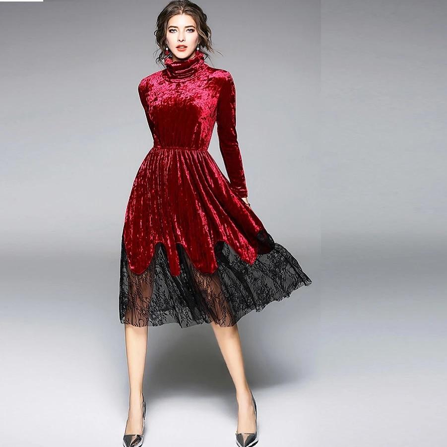 2018spring fashion ladies elegant dress lace patchwork gold