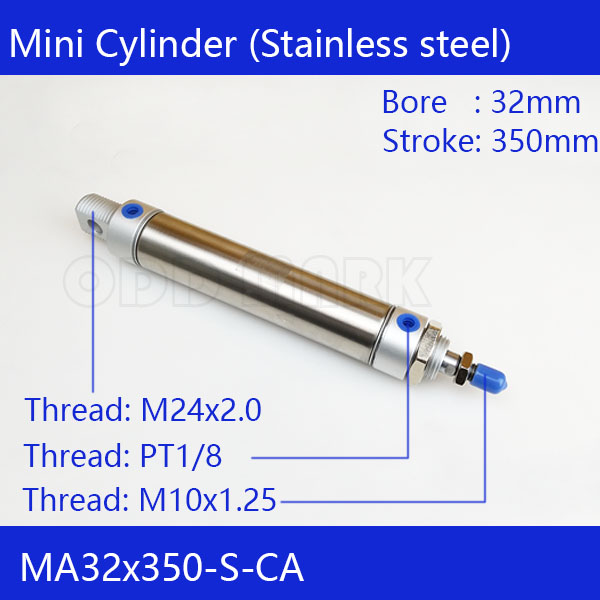 MA32X350-S-CA, Free shipping Pneumatic Stainless Air Cylinder 32MM Bore 350MM Stroke , 32*350 Double Action Mini Round Cylinders 41 1mm 350 cylinder