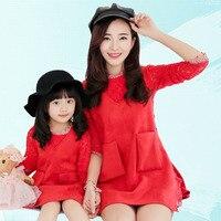 Mamma Figlia Vestito 2 pz Vestito Vest + Rosa Pizzo Rosso Sguardo Famiglia per la Madre e la Ragazza Autunno Nuovo Stile di Cotone Morbido Per Bambini 4 T-10 T