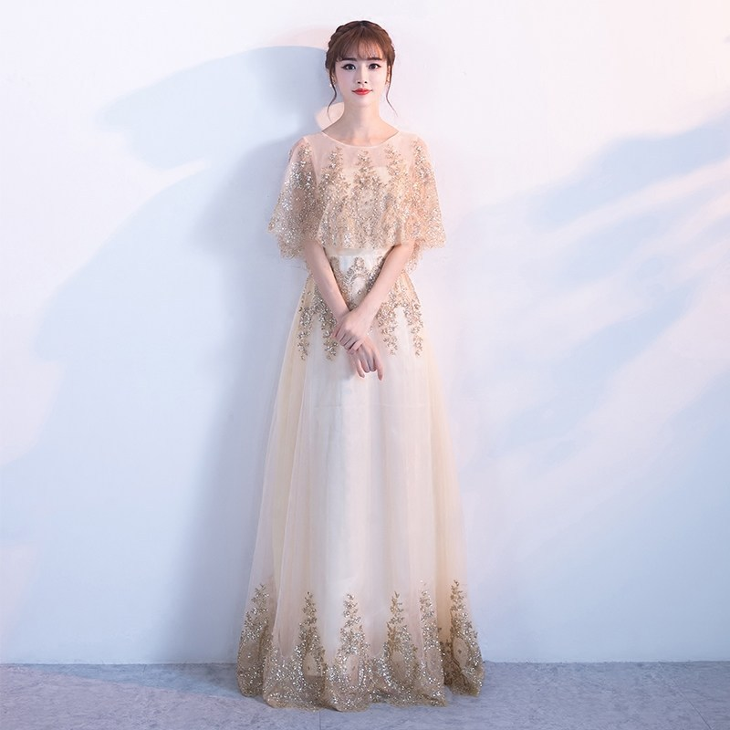 Robe de soirée Banquet 2019 printemps nouvelle version coréenne de la longue fête d'accueil robe de fête d'anniversaire robe de demoiselle d'honneur femme