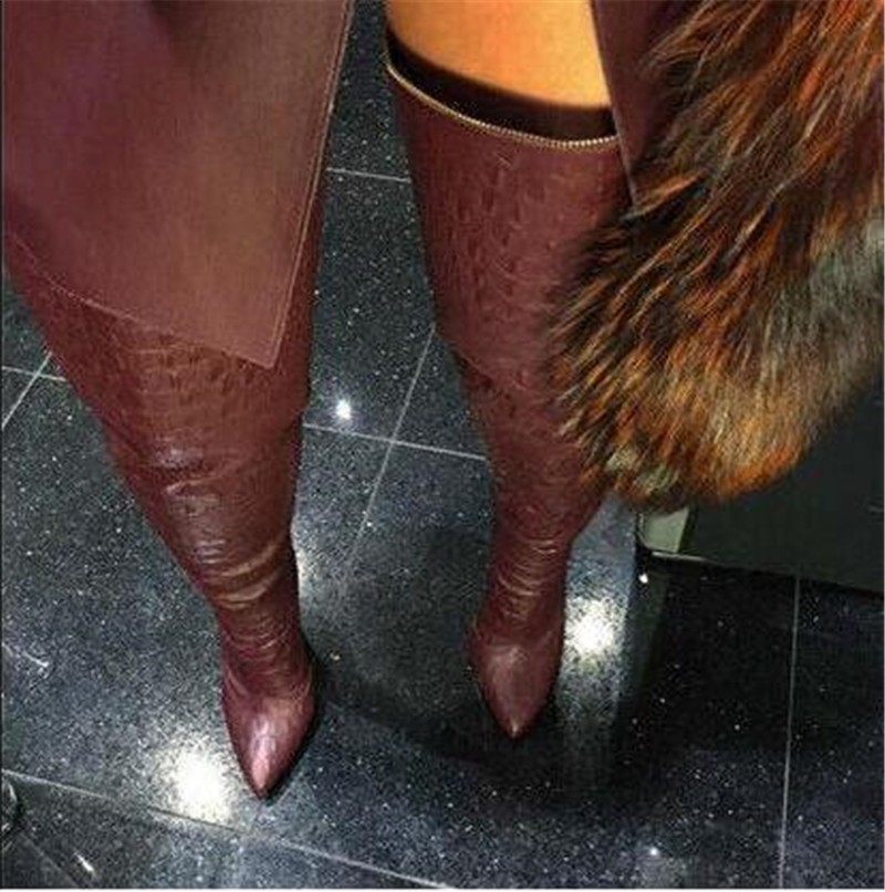 Sestito Woman Sexy Leopard Print Stiletto High Heels Over-the-knee Boots Girls Pointed Toe Shoes Woman Back Zipper Long Boots