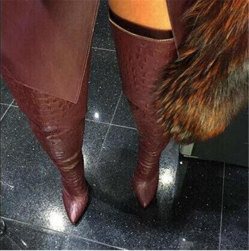 as Leopard Mujer Punta Larga Sexy Sobre Pictures Print Sestito Tacones Altos Zipper La Negro Stiletto Estrecha Zapatos Back Rodilla Botas Niñas qHEwdF