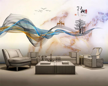 beibehang Customized new Chinese hand-painted abstract lines marbled landscape elk background wallpaper wall papers home decor