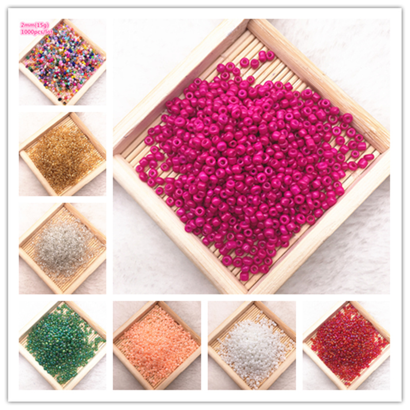 1000pcs/lot(15g) 2mm Charm Czech Glass Seed Spacer Beads For Jewelry Making Handmade DIY Finding Crafts(China)