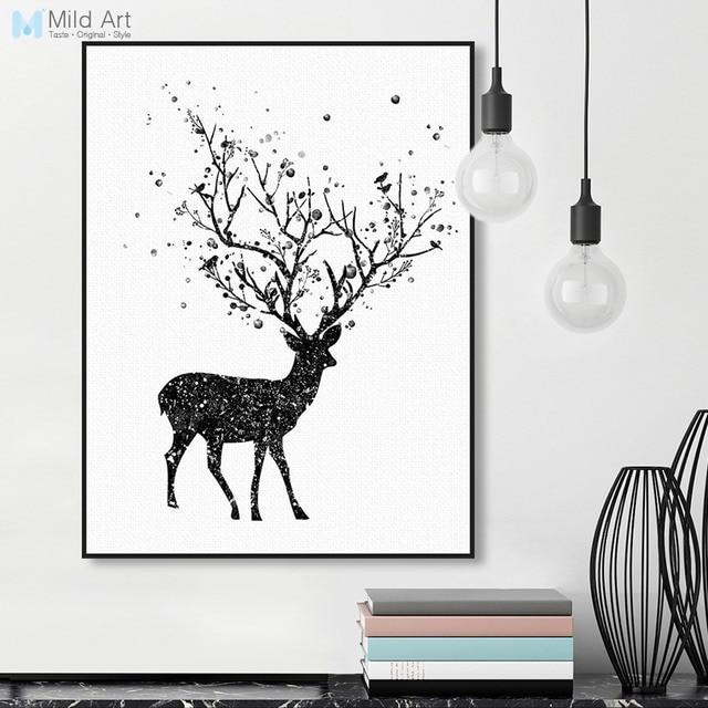 Moderno negro blanco cabeza de ciervo A4 cartel de impresión de Arte ...