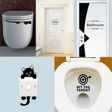 5Pcs=5Styles Wall Toilet Stickers Light Switch Wall Decals For Toilet Door Decal For Shop Office Cafe Bathroom Home Decoration