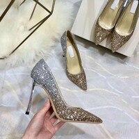 Роскошные известные бренды высокого качества 2018 Кристалл bling Свадебные туфли на высоком каблуке сверкающие стразами свадебная обувь Уника