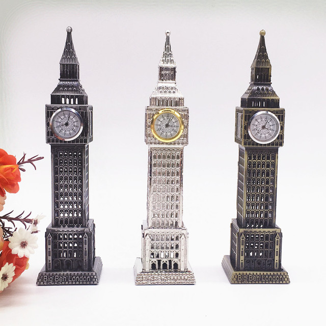 18cm Home Decoration Creative Birthday Gifts Kids Metal Model Desk London Big Ben With Clock