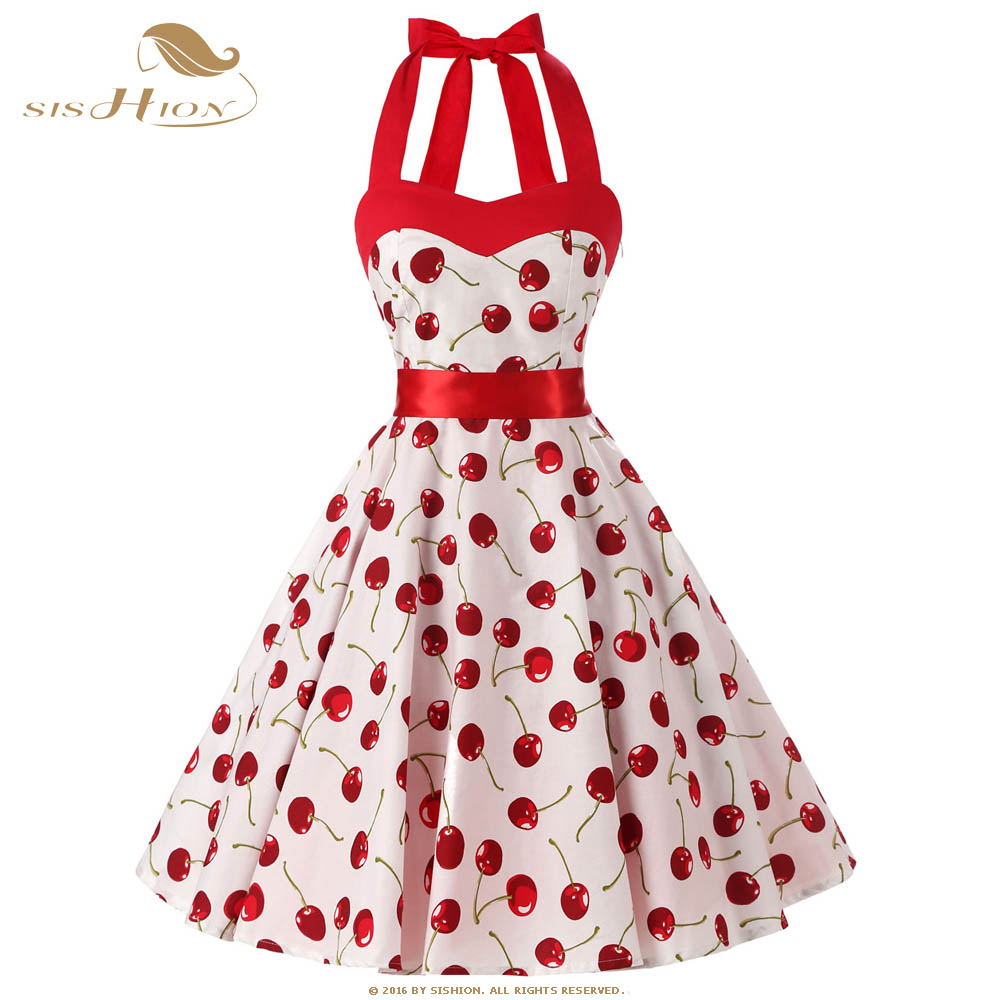 All About Abbie Pin Up Girl Clothing: SISHION Black White Dress Halter Sleeveless Floral Cherry