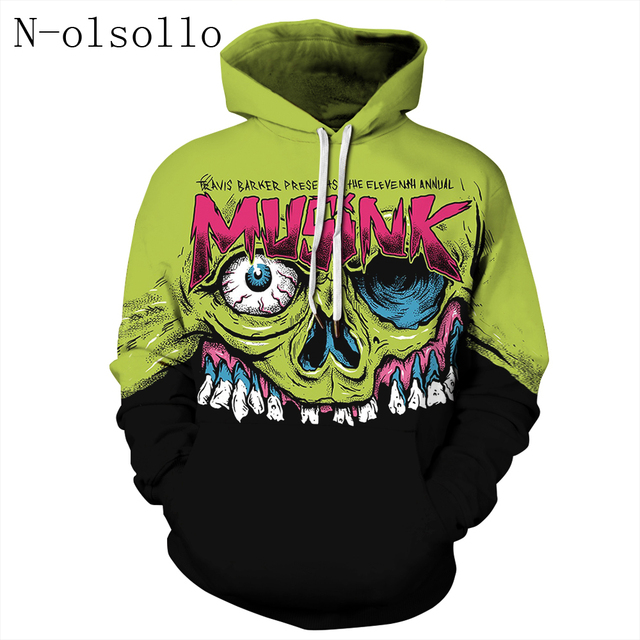 fef977403 N-olsollo Green Black Patchwork Skull 3D Corpse Gothic Hoodies 2018  Autumn Winter Thin Polyester Pullovers Fitness Sweatshirts