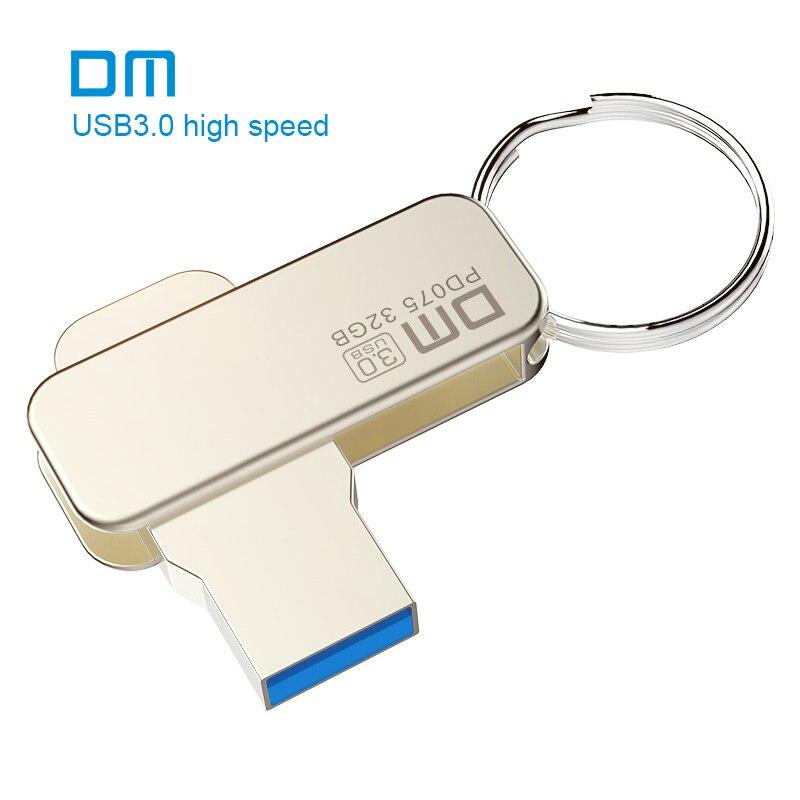 Free shipping DM PD075 NEW 16GB 32GB 64GB USB Flash Drives Metal USB 3.0 High-speed write from 10mb/s-60mb/s dm pd019 32gb metal usb 3 0