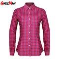 Camisas de las mujeres blusas blusas primavera 2017 tops mujeres camisa a cuadros de algodón mujeres de manga larga delgado blusas plus size clothing